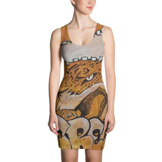 lady wearing eye of the Jaguar dress