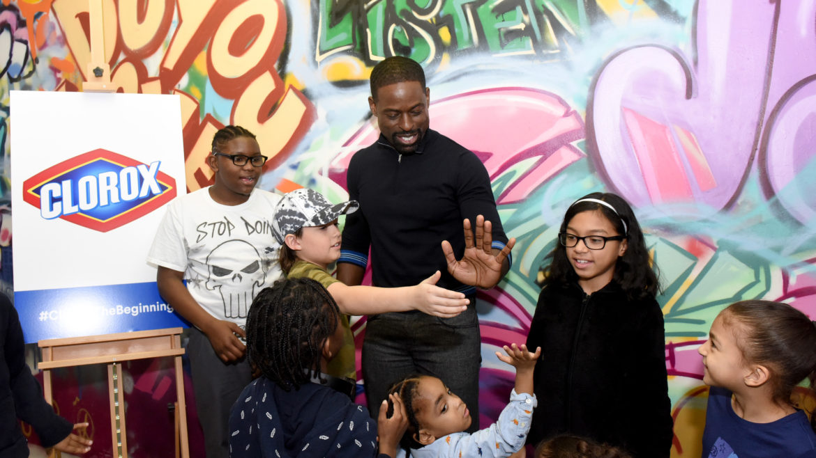 Sterling K. Brown spending time with kids at the hub