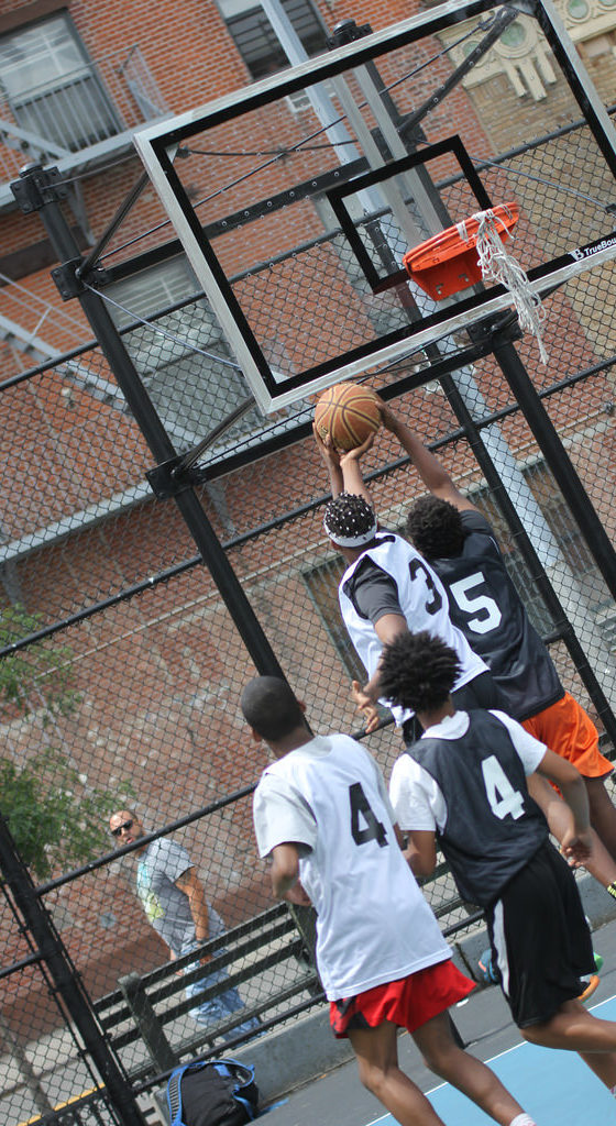 blocked shot at thrive sports basketball tournament