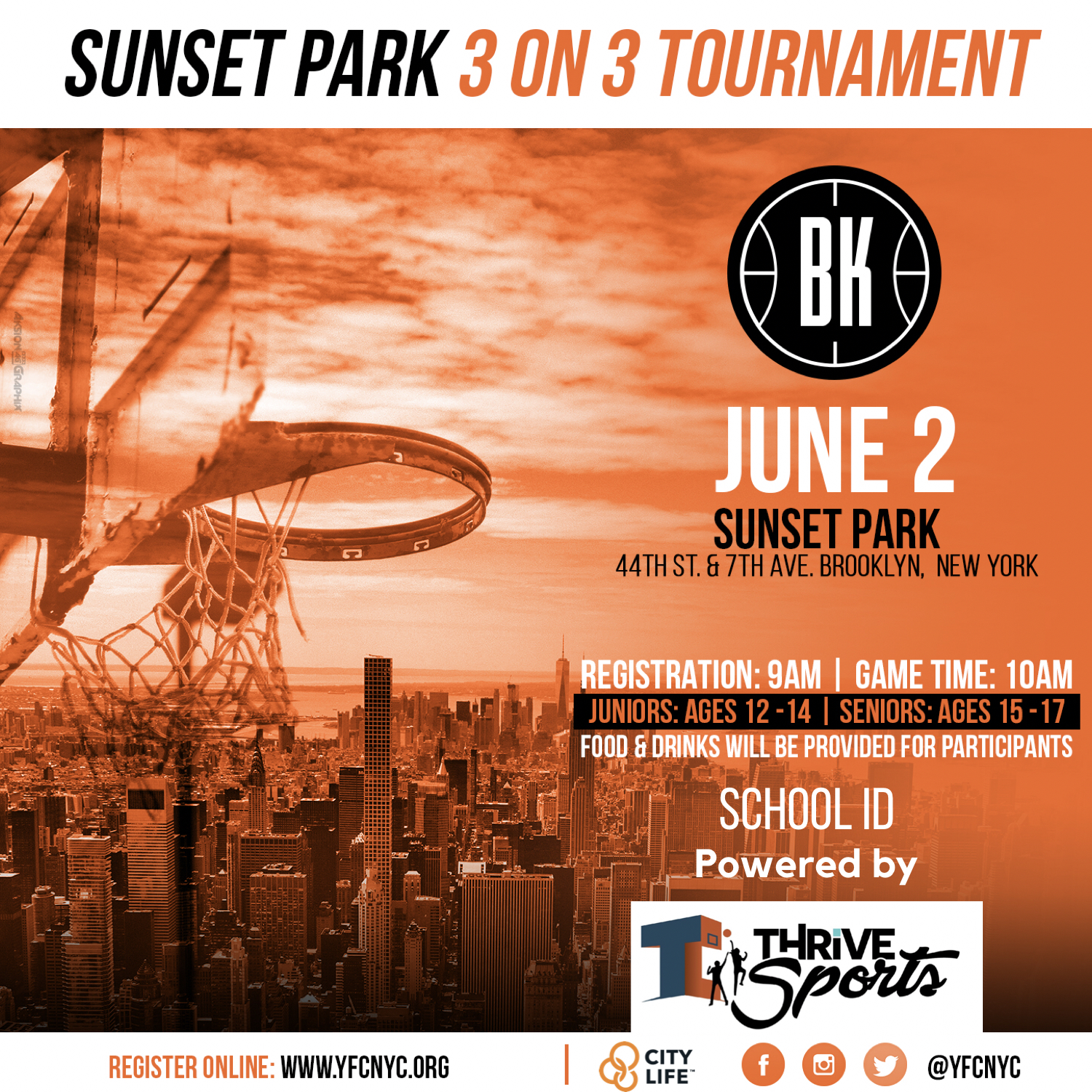 thrive sports 3 on 3 basketball tournament