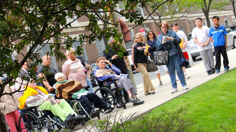 Seniors appreciating the mural