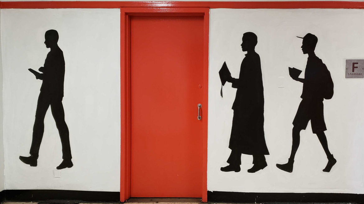 graduate silhouettes wall painting cont.
