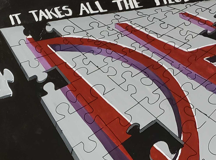 """""""it takes all the pieces"""" puzzle painting"""